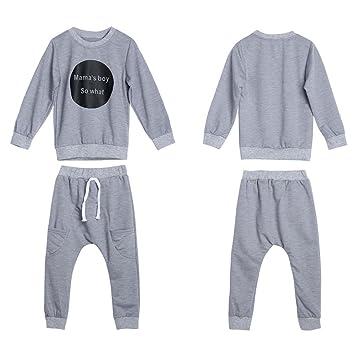 feiXIANG Conjunto de Ropa para niños Baby Girl Boy Ropa Manga Larga Camiseta cómica Top + Pantalones 2 Piezas: Amazon.es: Electrónica