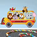 azutura Animal School Bus Wall Sticker Safari Animals Wall Decal Kids Bedroom Home Decor available in 8 Sizes