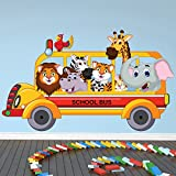 azutura Animal School Bus Wall Sticker Safari Animals Wall Decal Kids Bedroom Home Decor available in 8 Sizes XX-Large Digital