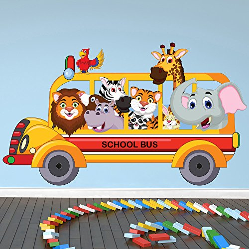 azutura Animal School Bus Wall Sticker Safari Animals Wall Decal Kids Bedroom Home Decor available in 8 Sizes XX-Large Digital by azutura