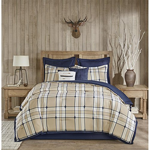 Euro Plaid Comforter (Woolrich Feather Plaid Faux Suede Tan/Navy Oversized 106x94 King Comforter Set - Bedskirt, Shams, Euro Shams and Two Decorative Pillows All Included In The Set)