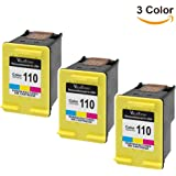 ValueToner Remanufactured Ink Cartridge Replacement for HP 110 CB304AN (Tri-Color, 3 Pack)