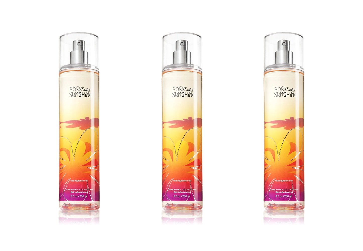 Lot of 3 Bath & Body Works Forever Sunshine Fine Fragrance Mist 8 Fl Oz Each