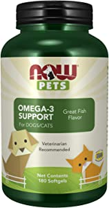 NOW Pet Health, Omega 3 Supplement, Formulated for Cats & Dogs, NASC Certified, 180 Softgels