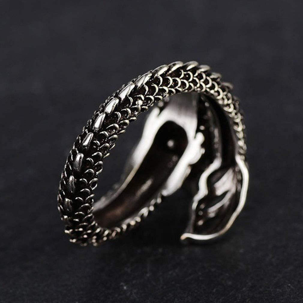 Yinew Gothic Offene Ringe verstellbar Mystic Flying Chinese Dragon Punk Rock Biker Ring Geschenk