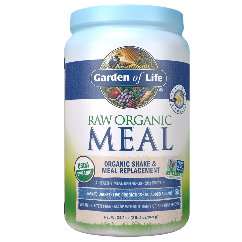 Garden of Life Meal Replacement Vanilla Powder, 28 Servings, Organic Raw Plant Based Protein Powder, Vegan, Gluten-Free by Garden of Life