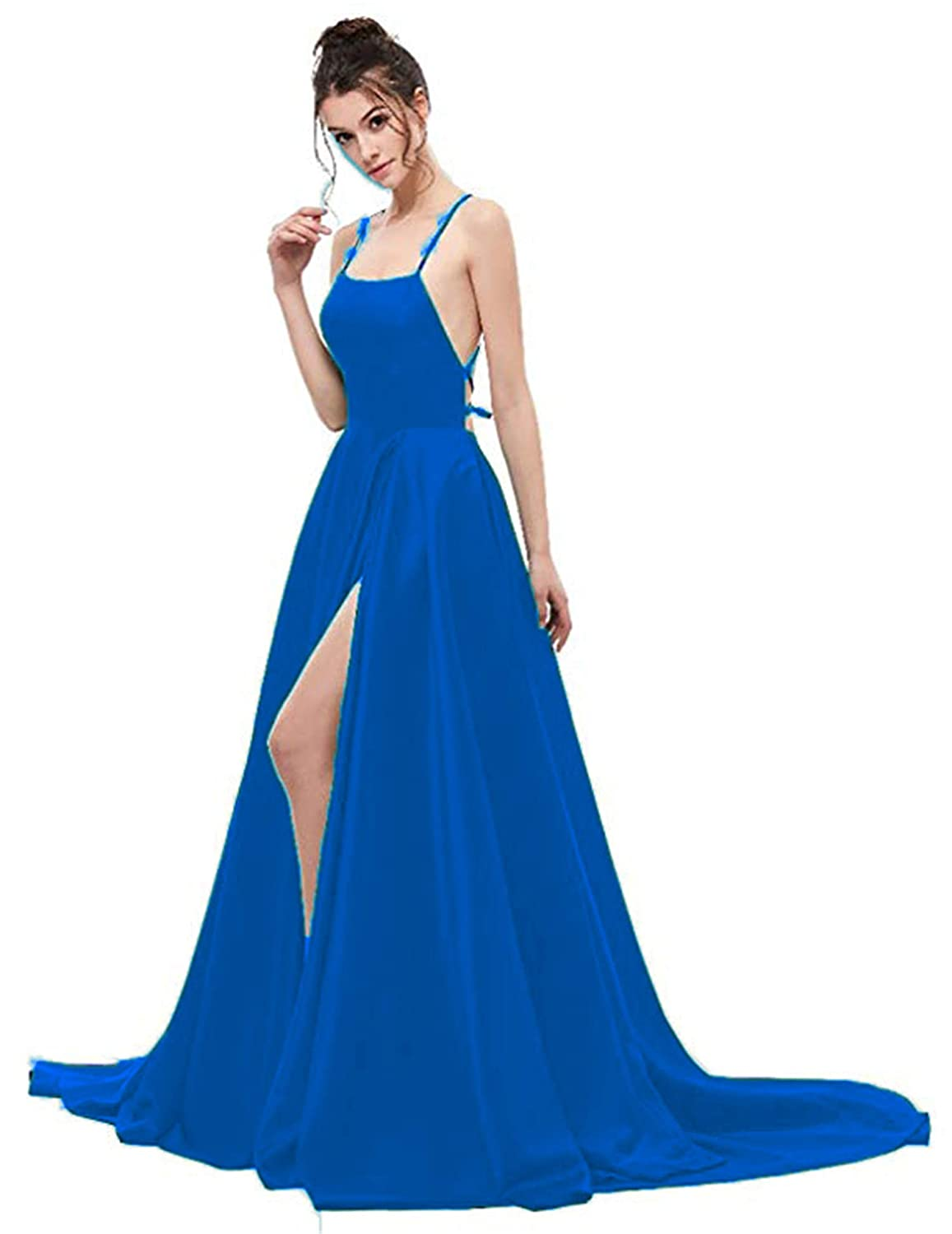 bluee Ruiyuhong Women's Satin Sexy Split Prom Dresses Backless Prom Evening Gowns