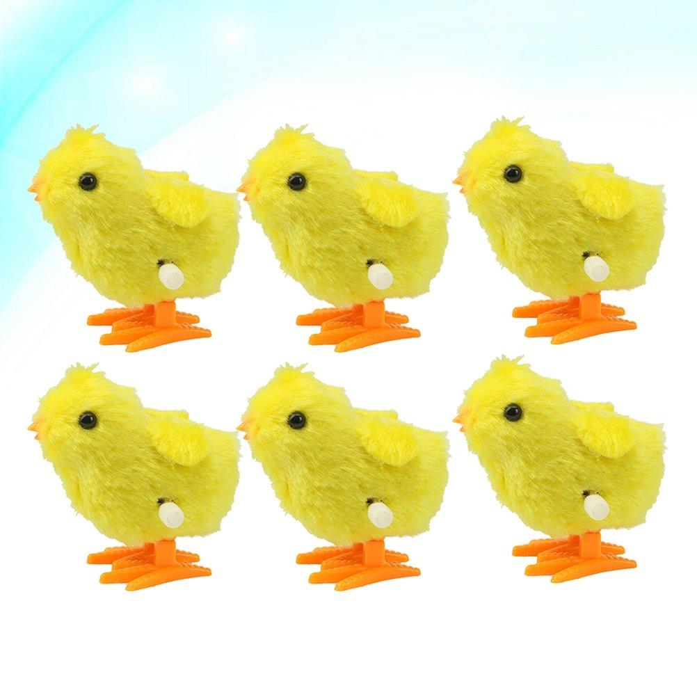 Amarillo YeahiBaby Wind up Animal Toys Plush Chicken Clockwork Jumping Chic Toys Favores de Fiesta para Pascua 12pcs
