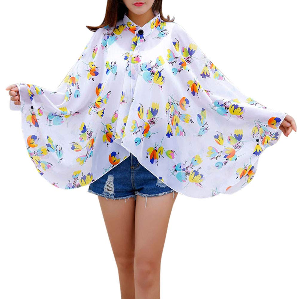 Women Vacation Sunscreen Cardigan Beach Cover up Floral Shawl Chiffon Tops Sunscreen Clothes