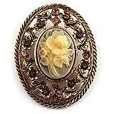 Vintage Floral Crystal Cameo Brooch (Antique Gold Finish)
