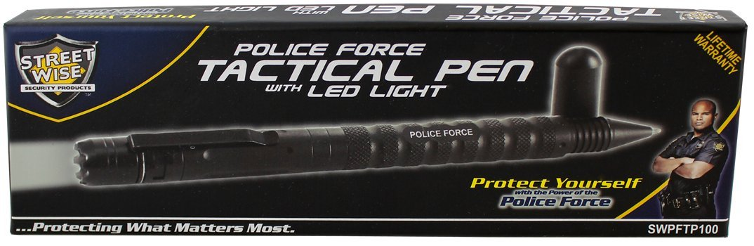 Streetwise Police Force Military Grade Tactical Pen with LED Light, DNA Tactical Edge, Water Resistant, Window Breaker, Kubotan Flashlight + AAA Battery Included for 100,000h LED Lifespan by Home Self Defense Products (Image #8)