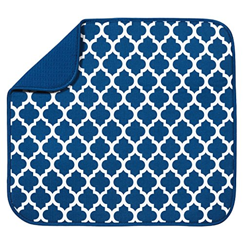 "S&T Microfiber Dish Drying Mat, 16"" x 18"", Blue Trellis"