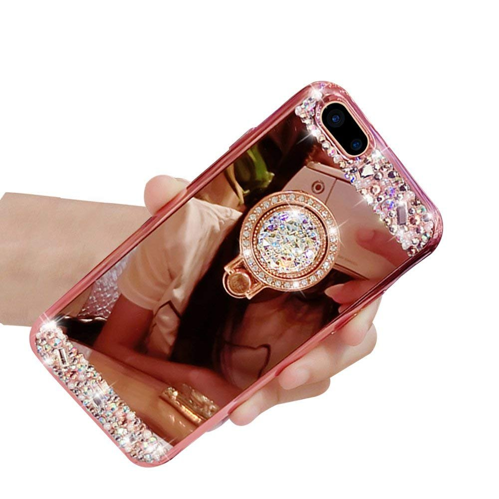 Lozeguyc iPhone 8 Plus Case,Luxury Crystal Rhinestone Soft Rubber Bling Diamond Glitter Mirror Makeup Case for iPhone 8 Plus 5.5 Inch with Detachable 360 Degree Ring Stand-Rose Gold