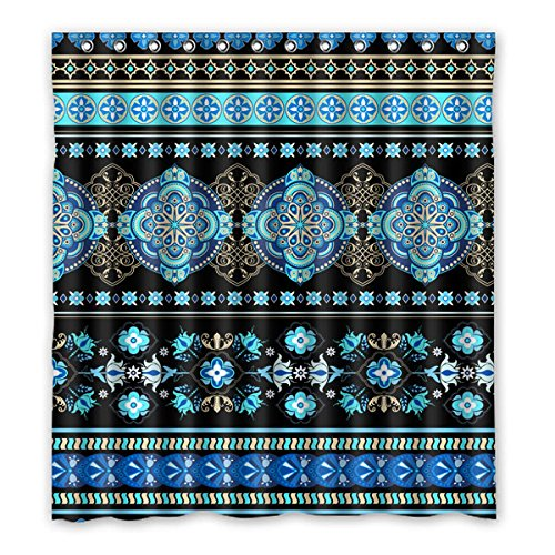 Flower Giraffe Blue Shower (Black background blue flower grain symmetry pattern design Polyester Fabrics Waterproof bathroom Shower Curtain 66
