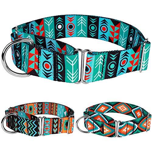 CollarDirect Martingale Dog Collar Nylon Safety Training Tribal Pattern Adjustable Heavy Duty Collars for Dogs Medium Large (Pattern 1, Extra Large, Neck Size 19-24)