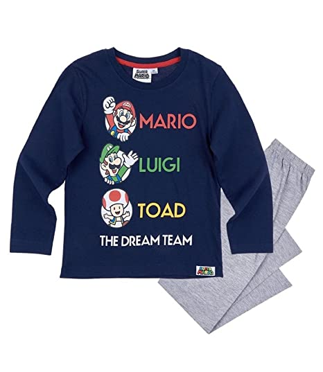 Nintendo Super Mario Bros - Pijama Dos Piezas - para niño Azul Marino 4 años