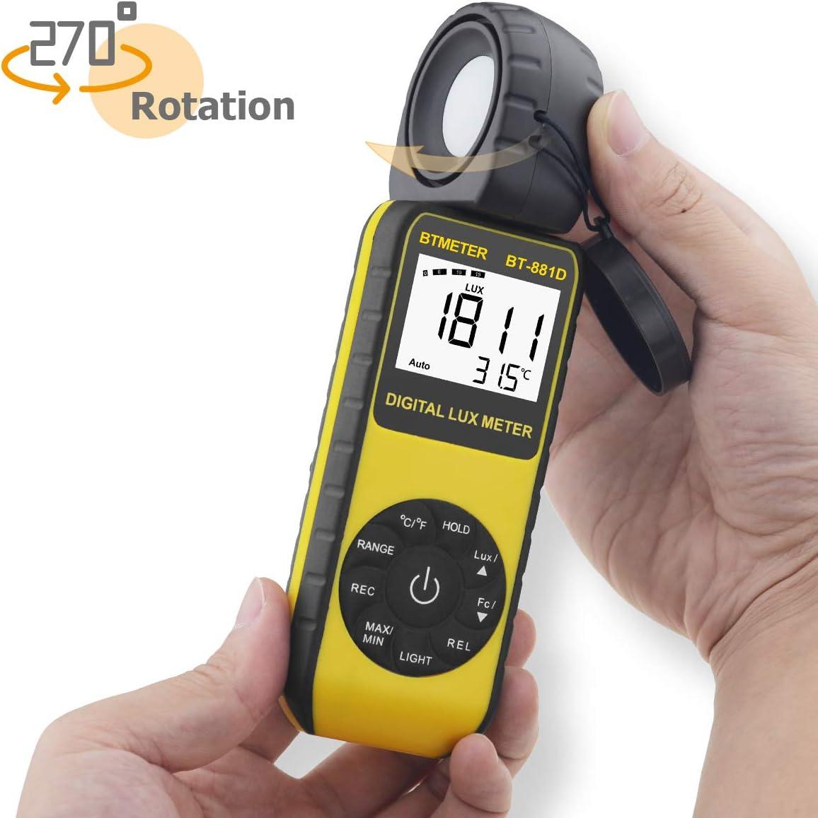 con Pantalla de Temperatura Ambiente y Detector Rotativo de 270 /° para Luz LED y Plantas de Cultivo Lux/ómetro Digital INFURIDER YF-881D Lux/ómetro Termometro Digital 0.1-400000 Lux