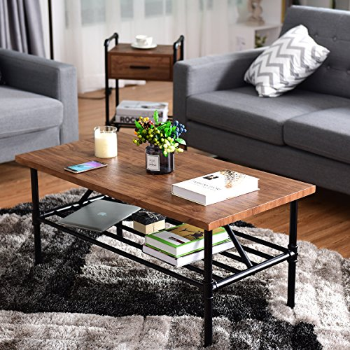 "Giantex 2-Tier Rustic Coffee Table Metal Frame Modern Living Room Furniture Vintage Wood Look Industrial Style TV Sofa Side Table Accent Cocktail Table w/Storage Shelf (40""(L) x 20""(W) x 18""(H)) by Giantex (Image #2)"