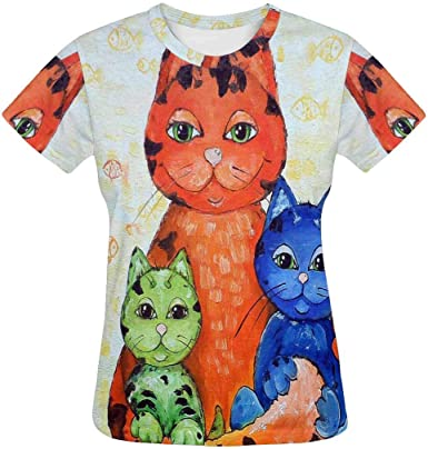 XS-2XL INTERESTPRINT Mens Hoodies Pullover Owl Hearts Fashion Short Sleeve Shirts