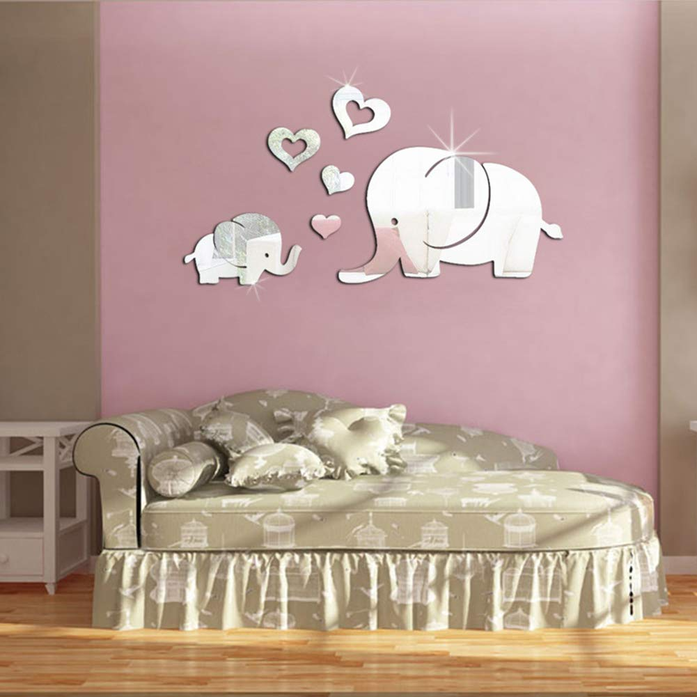 Studyset Wall Decor Mirror Sticker Cute 3D Heart-Shaped Elephant DIY Removable Baby Kids Room Mural Decals Gold