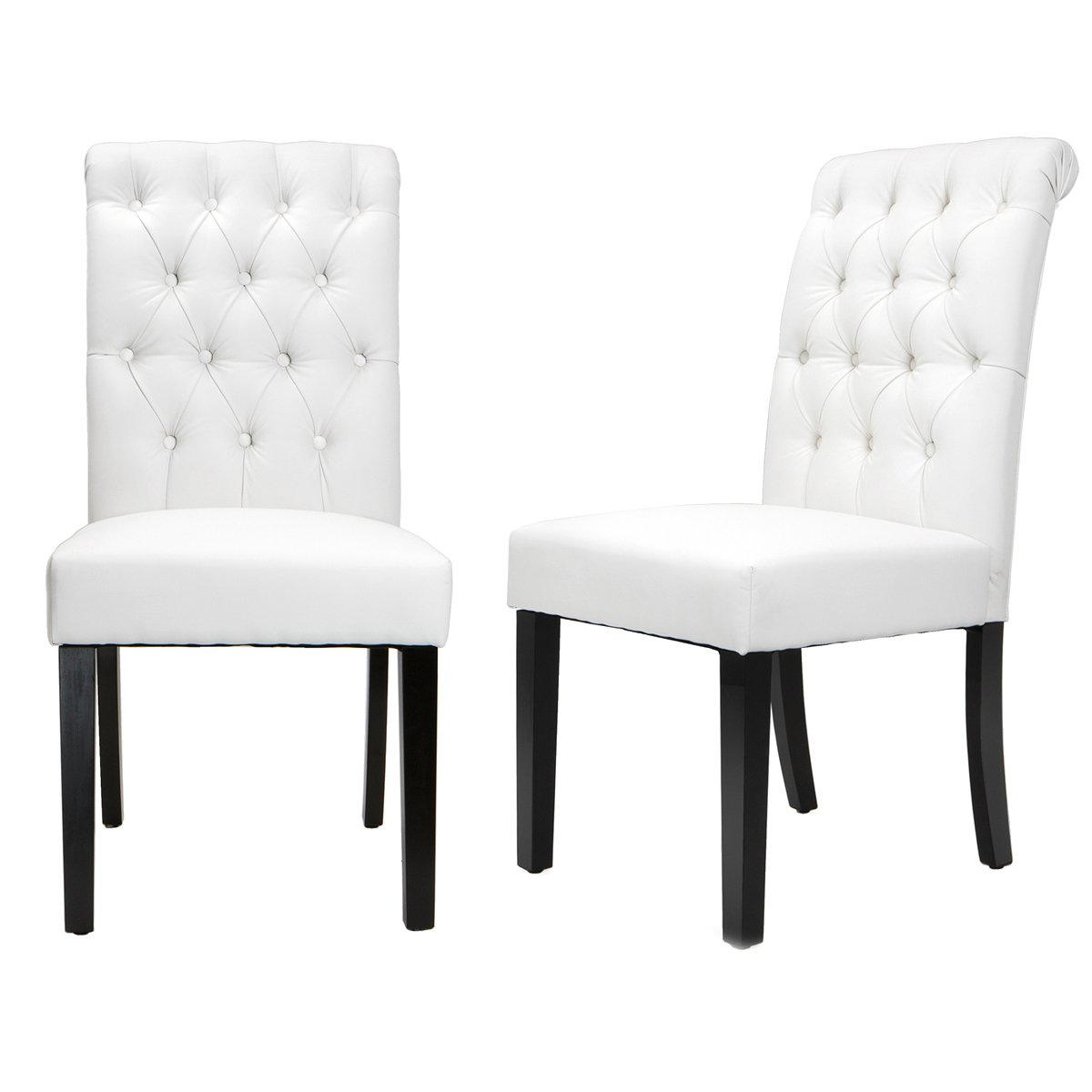 XtremepowerUS Padded Fabric Dining Chair, Set of 2 (White) 94047