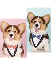 Dog Bandanas,EYLEER Wedding Tuxedo Triangle Doggie Puppy Cat Bandanas Scarf Kerchief Costume Accessories with Bow Tie for Small Medium Large Dogs Cats Wedding Engagement Anniversary Party and More (Blue)