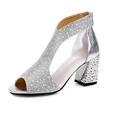 f15e279a67f6cf Escarpin mariage soirée femme glitter maille stras chaussure bout ouvert  talon carré sexy sandale élégant brillant