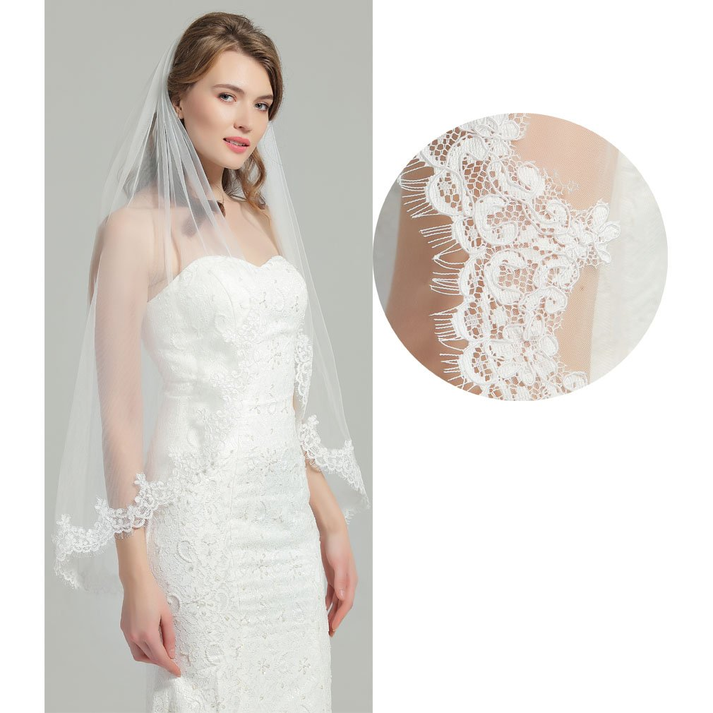 Wedding Bridal Veil with Comb 1 Tier Eyelash Lace Trim Applique Edge Fingertip Length 37'' V80-Ivory