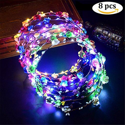 BALANSOHO LED Flower Headband 8 Pcs Crown Floral