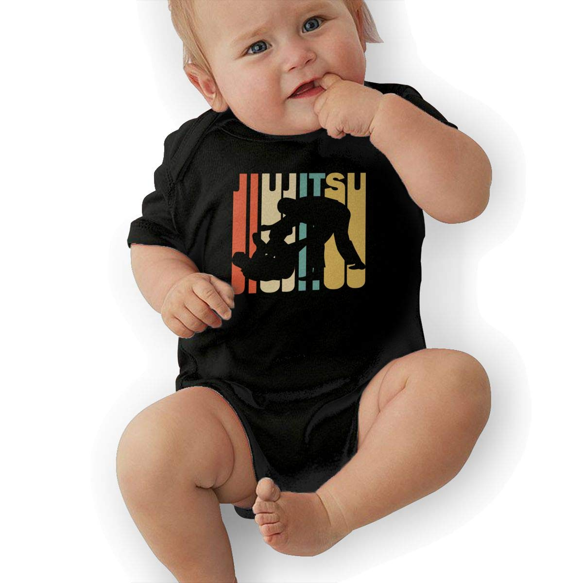 Soft Retro Style Jiu Jitsu Silhouette Jumpsuit Short Sleeve Cotton Bodysuit for Unisex Baby