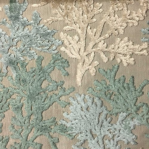 (Reef - Coral Pattern Cut Velvet Upholstery Fabric by The Yard)
