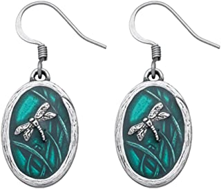 product image for DANFORTH - Dragonfly / Teal Earrings - 7/8 Inch - Surgical Steel Wires - Pewter - Handcrafted - Made in USA