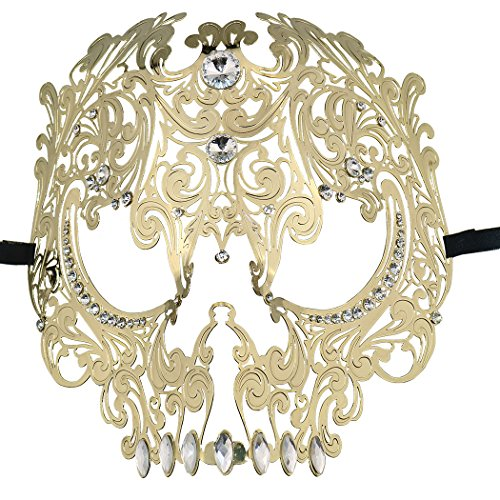 Skull Face Masquerade Masks Mardi Gras Party Mask with Rhinestones Gold -