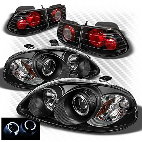 Xtune for 1996-1998 Civic 2dr Black Housing Halo Projector Headlights + Altezza Style Tail Lights 1997 Civic Projector Headlights Black Housing