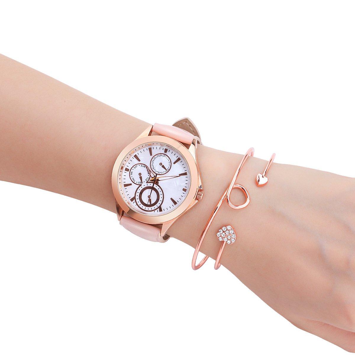 MODIWEN Conjunto de joyería para mujer, diseño de corazón, color rosa
