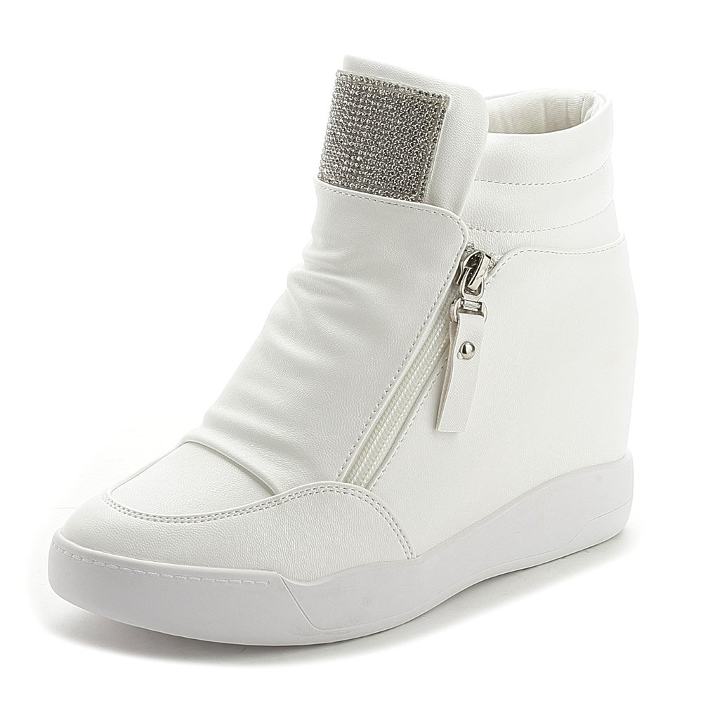 d339320a33c GIY Womens Cz High Top Platform Sneakers - Increased Height Hidden Heel  Rhinestone Wedge Sports Shoes - Casual Women s Shoes
