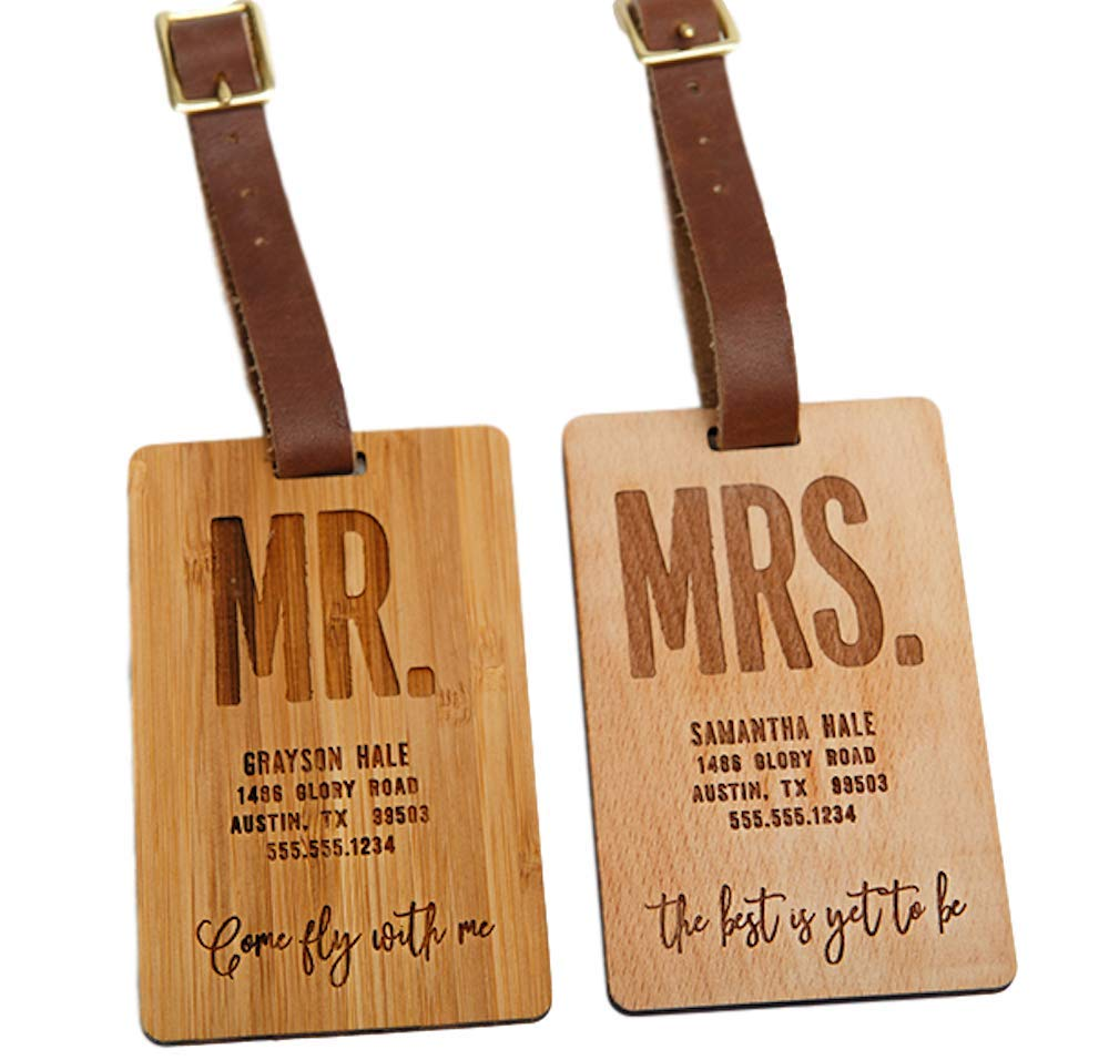 Personalized Mr and Mrs Luggage Tags 2.5'' x 4'' - Unique Travel Gifts for Couples, Engraved and Made of Wood (Beech Wood Type, Mr. and Mrs. Hale Design)