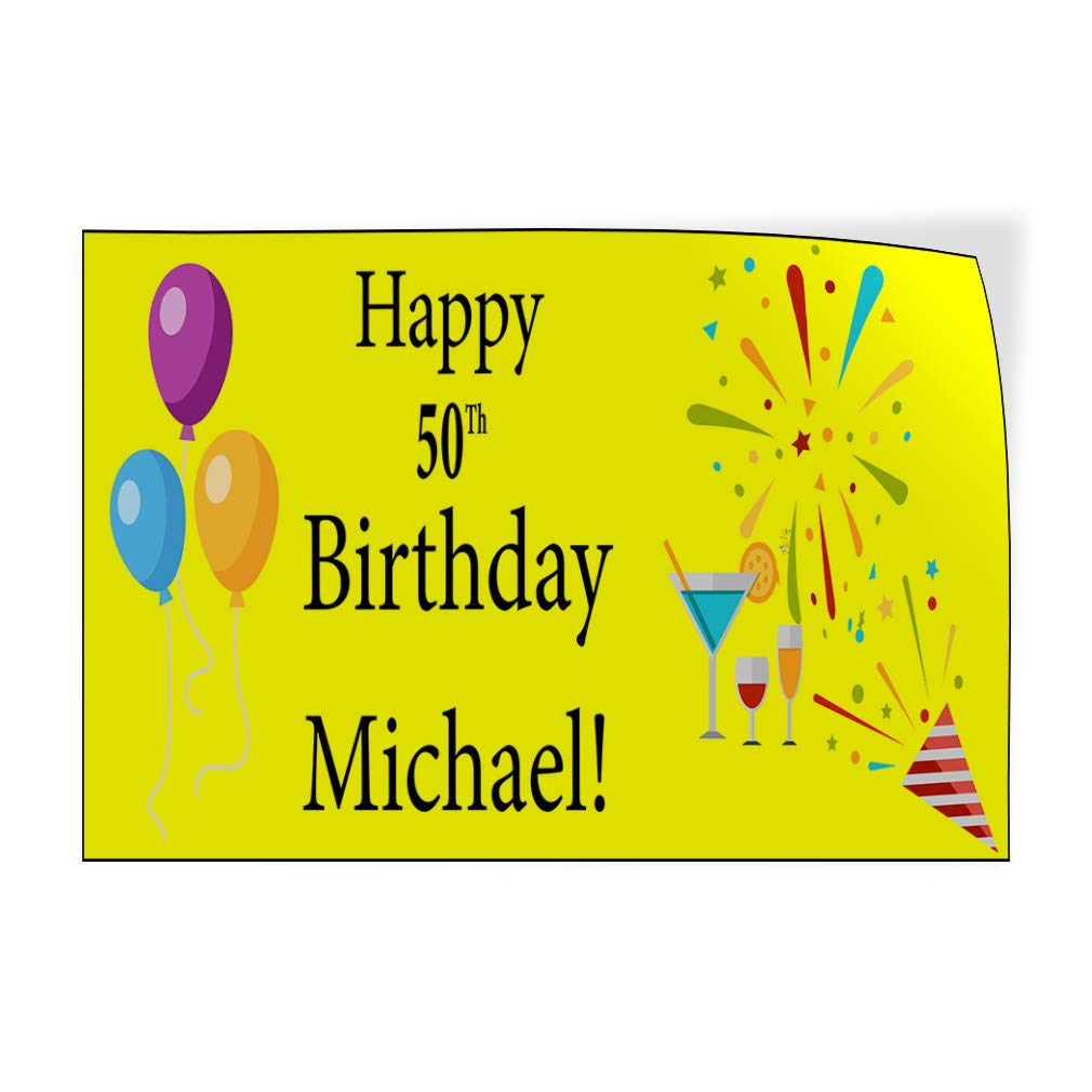 Custom Door Decals Vinyl Stickers Multiple Sizes Happy Age Birthday Boy Name Blue Holidays and Occasions Happy Birthday Outdoor Luggage /& Bumper Stickers for Cars Yellow 69X46Inches 1 Sticker