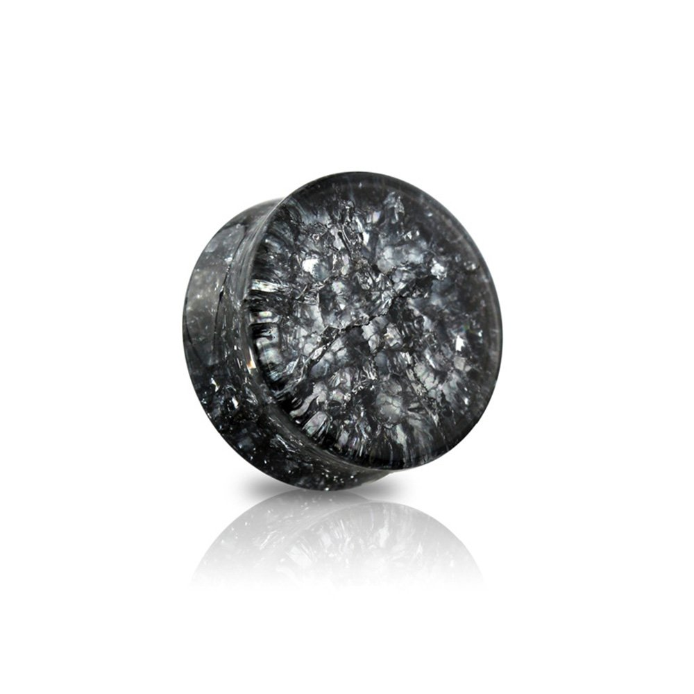 Dynamique Pair Of Black Double Flared Cracked Glass Saddle Plugs