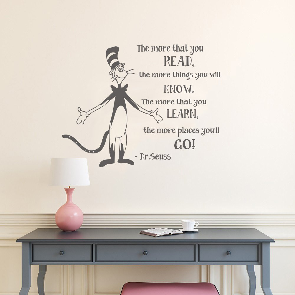 Wall decal decor the more that you read dr suess vinyl decal quotes wall lettering classroom wall art sticker children kids wall decalsdark gray