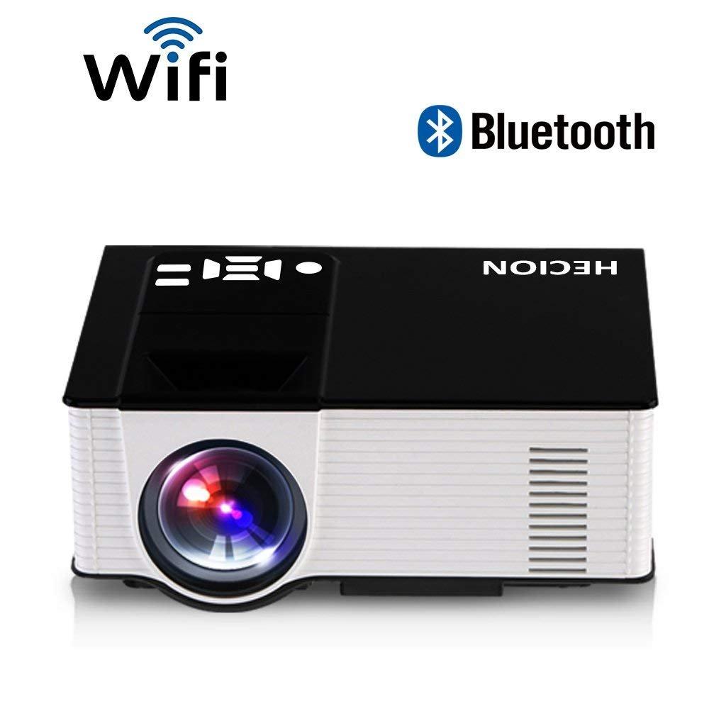 HECION Wifi Wireless Mini Projektor HD Projektor Multimedia Projektor mit Android 4.4 2000lumens System unterstützt Maus und Tastatur über USB für Heimkino, Spiele, Party, Office (Schwarz + Weiß)
