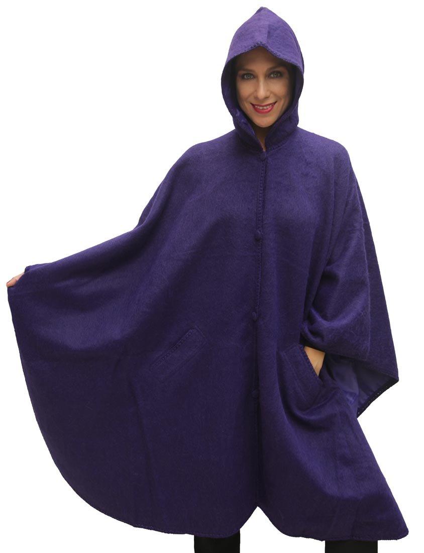 Hooded Alpaca Wool Cape Lined Hood Poncho, Purple