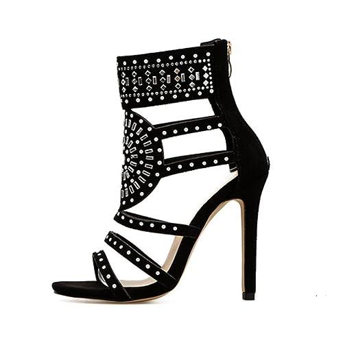 Solike Femmes Escarpins Sexy Talon Haut Aiguille Sandales en Strass PU  Casual Chaussures à Printemps Été 9fd5d5d32c6a