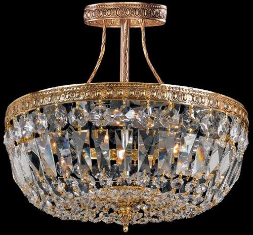 Crystorama 118-10-OB, Richmond Round Crystal Semi Flush Lighting, 3 Light, 180 Total Watts, Brass