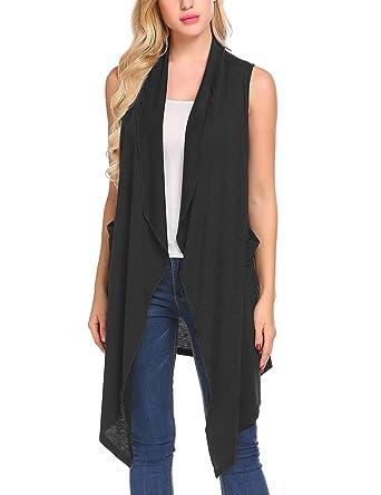 7931b6e2b17ecb Mofavor Women s Solid Color Sleeveless Asymetric Hem Open Front Cardigan  Black S