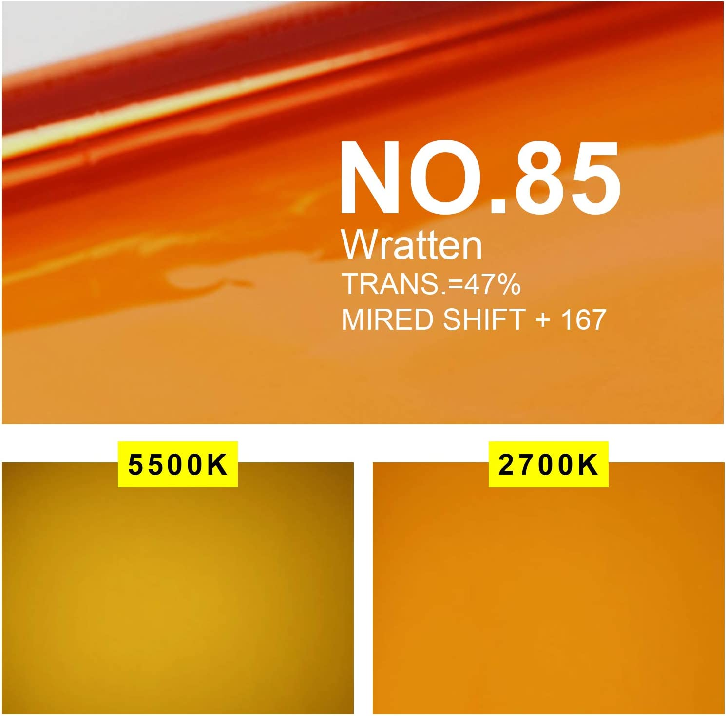 Selens Orange Color Correction Gel 16x20 Inches 4 Pieces CTO Colored Lighting Filter Sheet for 800W Red Head Light Strobe Flashlight Photo Studio