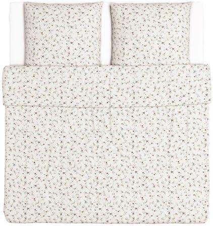 Ikea Ljusoga Parure De Lit 3 Pieces Fleurs 240 X 220 Cm 2 X 80 X 80 Cm Amazon Fr Cuisine Maison