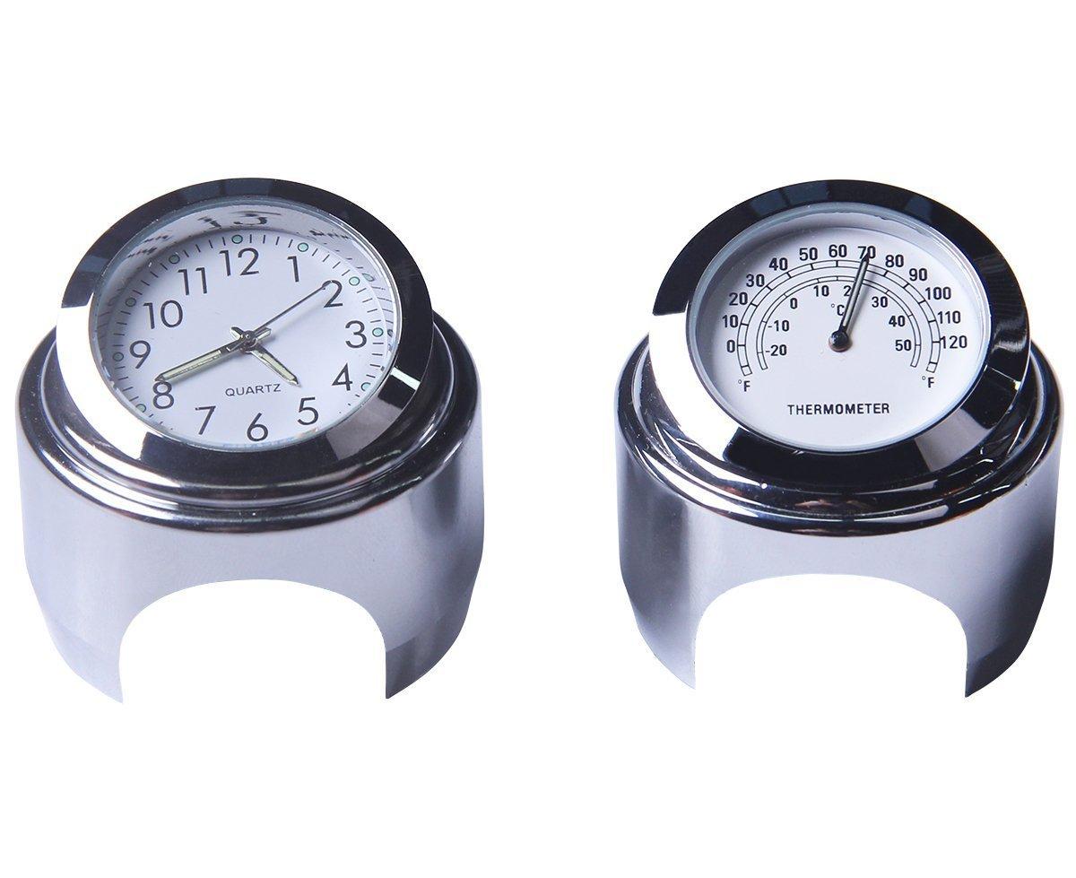 Lanlan Motorcycle Handlebar Clock Thermometer Waterproof Dial Handlebar Mount for Yamaha Kawasaki 22mm-25mm Black dial clock + thermometer