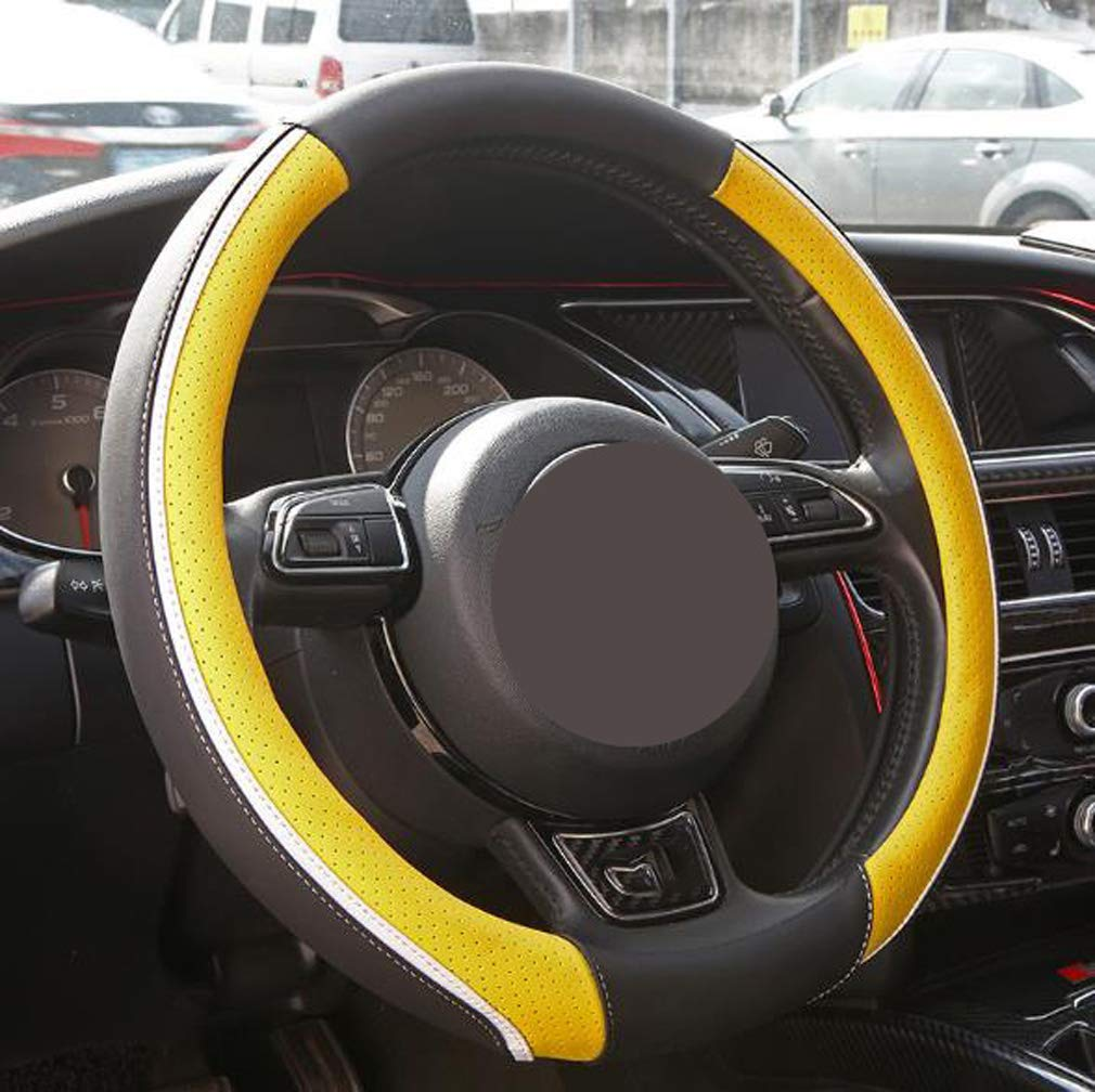Steering Wheel Cover Leather Breathable Comfortable Universal Size 15 inch/38cm Protector for Auto Steering Wheel Cover, Yellow