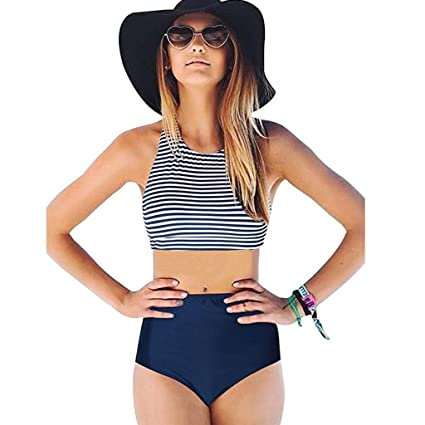 Traje De BañO De Mujer Sexy EláStico Vendaje Raya Bikini Set Ropa De Playa Monokini Sujetador